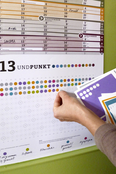 Punktekalender zum Selbstkleben, Jahr 2013