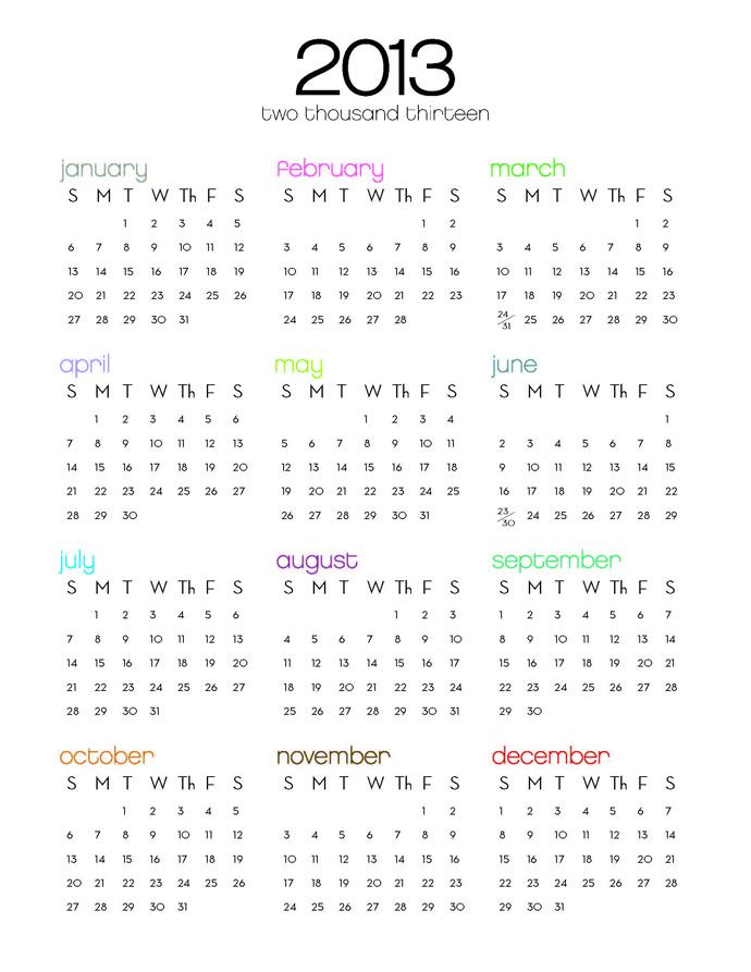 2013 Kalender selbst ausdrucken