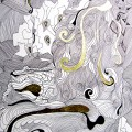 Malerei in Schwarz-Weiß und mit Blattgold veredelt