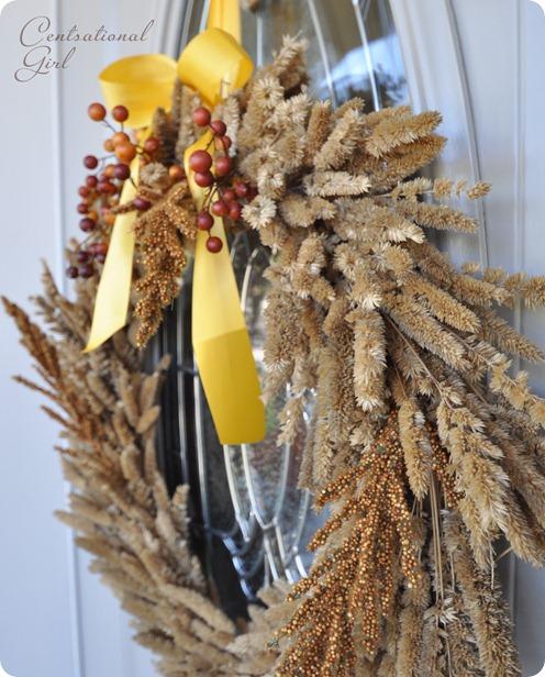 Herbst-Kranz mit Gräsern und gelber Schleife