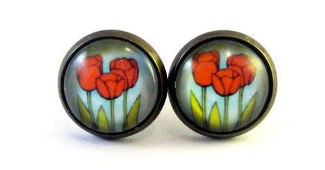 Ohrringe mit Tulpenmotiv