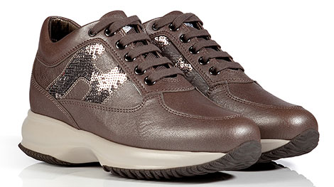 HOGAN Leather Interactive Sneakers in Moor