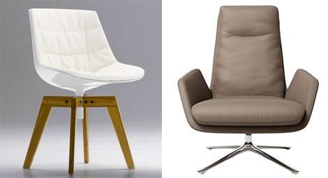 MDF Italia FLOW CHAIR Stuhl mit Füßen und COR CORDIA Drehsessel
