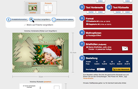 Onlinekonfigurator für Weihnachtskarten bei printplanet.de
