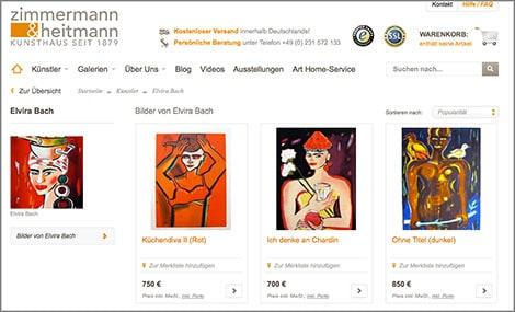 Bilder von Elvira Bach bei www.zimmermann-heitmann.de