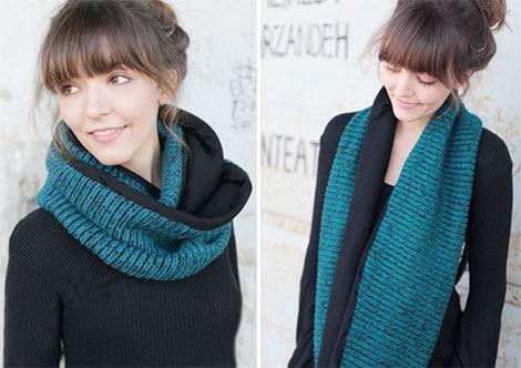 Loop-Schal aus Wolle und Jersey