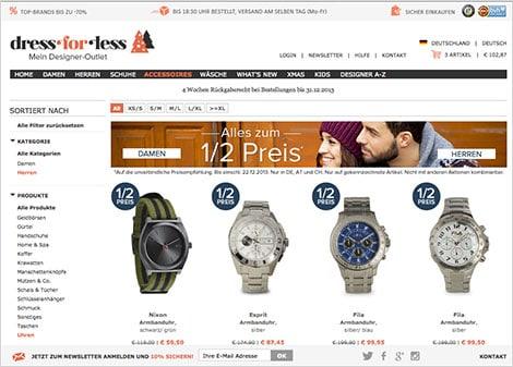 Uhrenauswahl für Herren auf www.dress-for-less.de