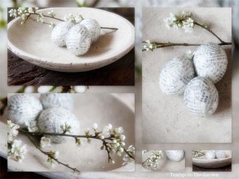 Osterdeko mit papierummantelten Eiern