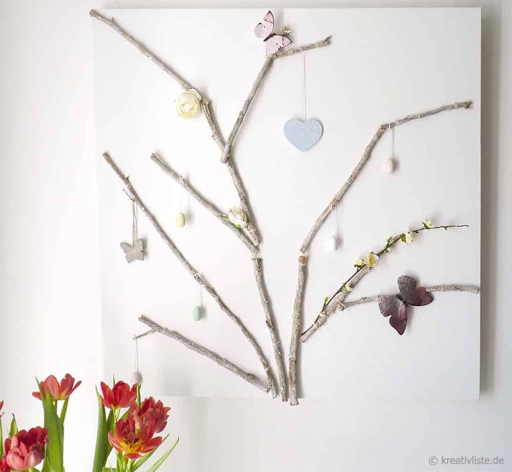 DIY Wanddekoration aus Ästen auf Keilrahmen - immer neu dekorierbar