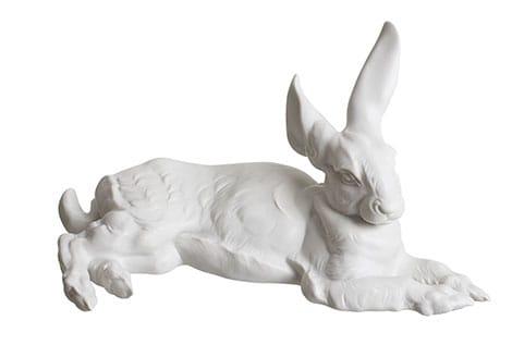 Deko-Hase aus weißem Porzellan