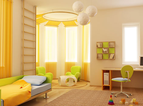 Kinderzimmer-Gestaltung mit Wohntextilien wie Gardinen und Teppichen