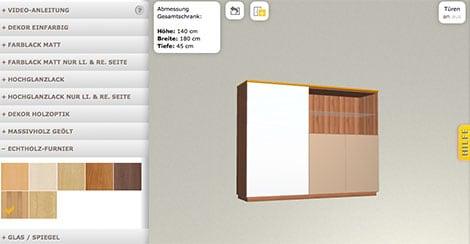 Möbelstück individuell gestalten im Online-Konfigurator