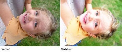 Vor und nach der Bildbearbeitung