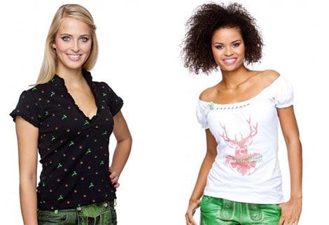 """Trachtenshirt """"Vinda"""" schwarz Trachten T-Shirt """"Lorena"""" weiß"""