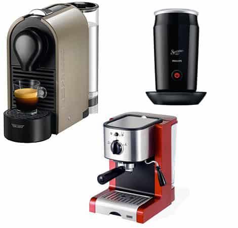 Moderne Kaffeemaschinen haben oft einen integrierten Milchauschäumer