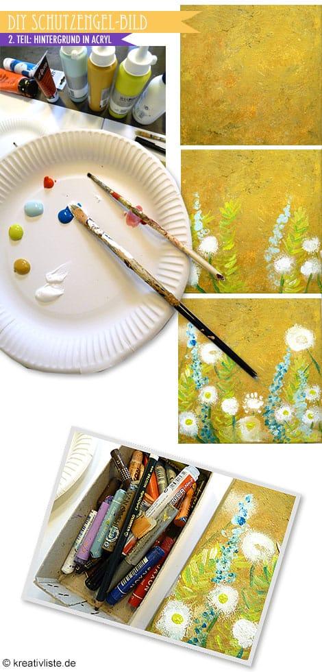 Schutzengel-Bild Hintergrund mit Acrylfarben