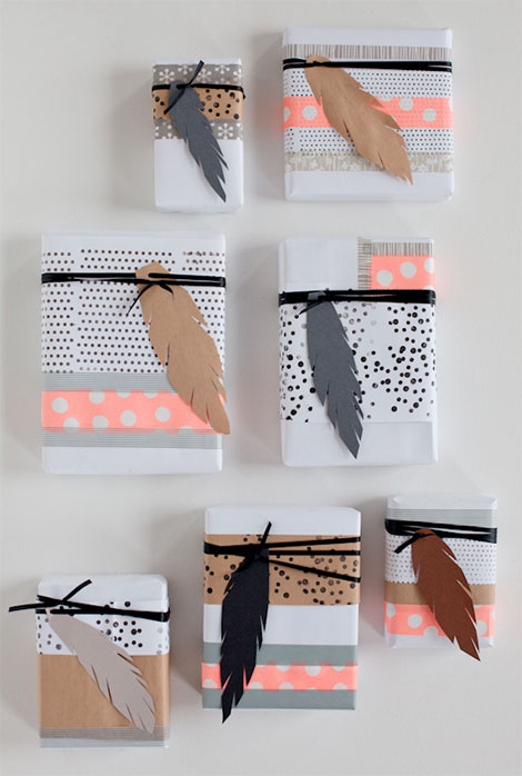 Geschenkpapier selbst gestalten mit Stempeln
