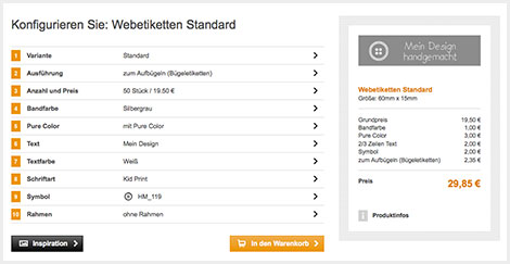Im Onlinekonfigurator lassen sich Webetiketten gestalten