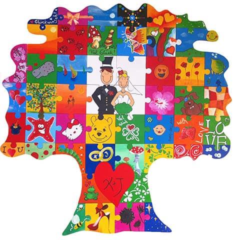 Baum-Puzzle mit Blanko-Teilen