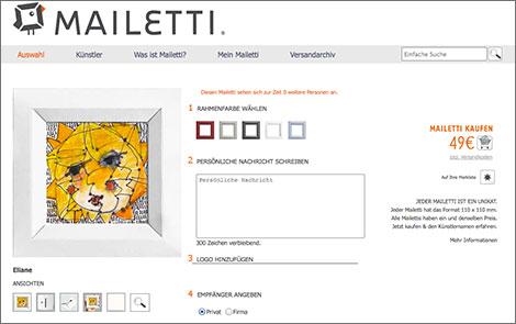 Zu jedem Unikat kann auf mailetti.de der passende Papp-Rahmen gewählt werden