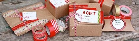 Geschenkpapier gestalten: Kleben, Stempeln, Falten