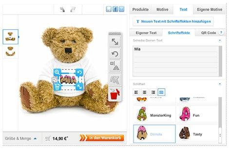 Teddy mit bedrucktem Namens-Shirt zur Geburt schenken