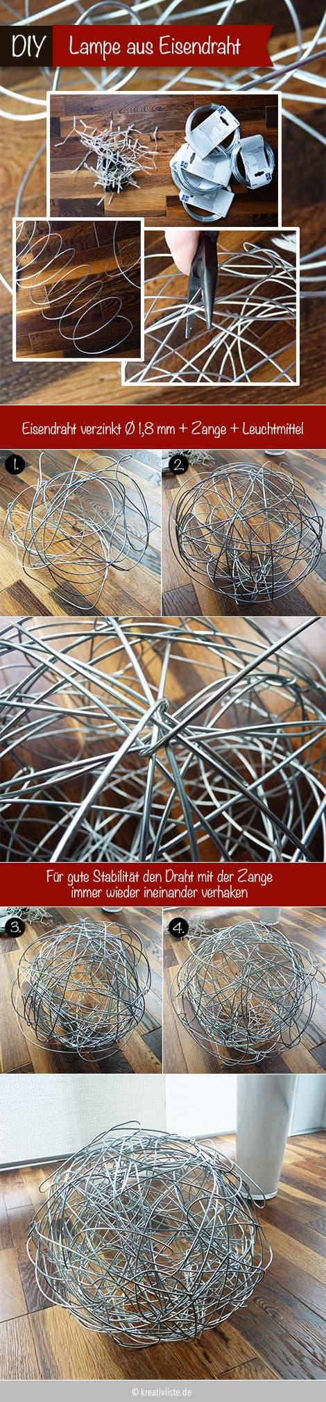 Lampe selber bauen aus Metalldraht, Papier oder Holz - DIY