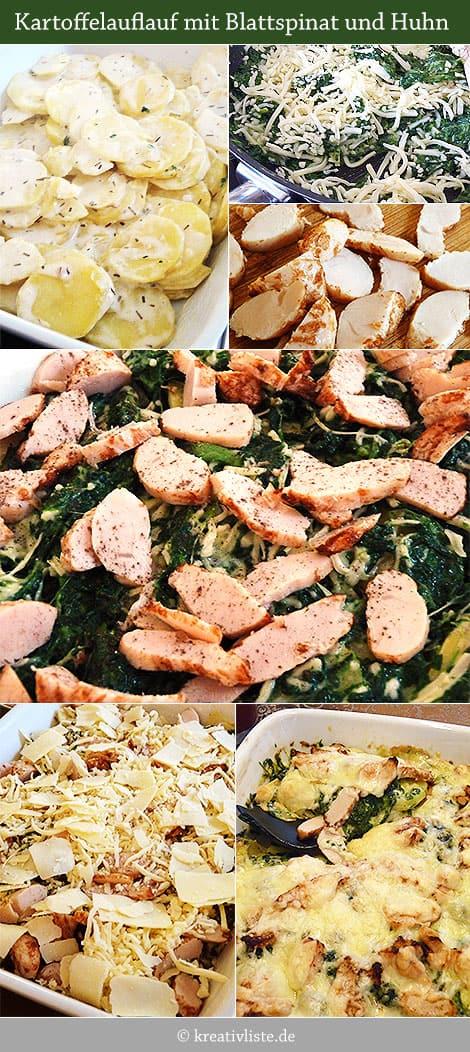 Kartoffelauflauf mit Spinat und Huhn