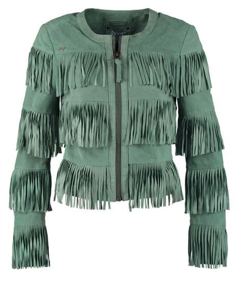 Grüne Lederjacke im Gipsy-Stil