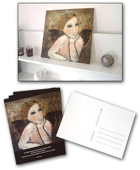 Werbung im Postkartenformat - hier wird für  Kunstmalerei geworben