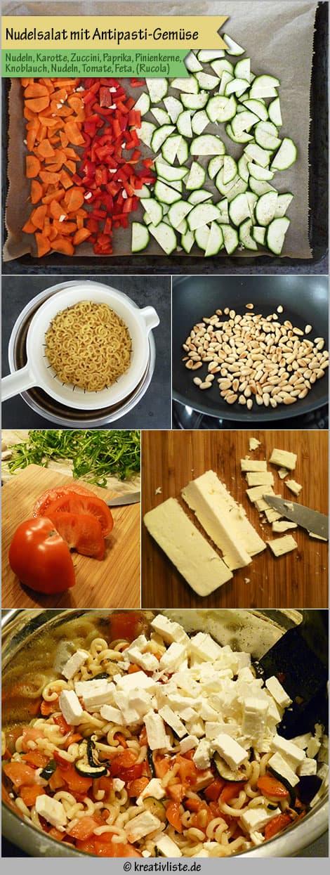 Nudelsalat mit Antipasti-Gemüse zum Grillen