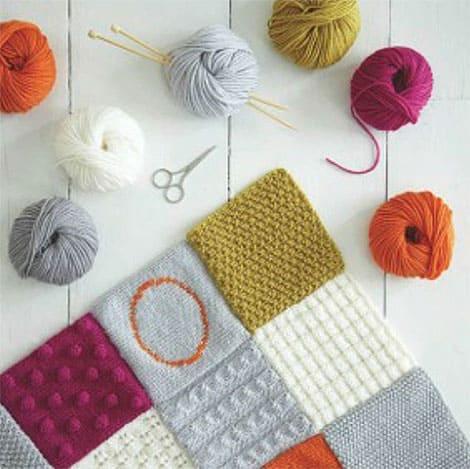 Wohnaccessoires stricken  Stricken lernen am Beispiel einer Patchworkdecke