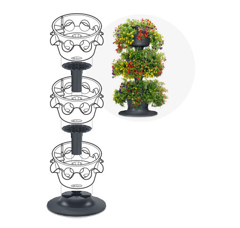 Drei CASCADINO Pflanztöpfe  in Turmform