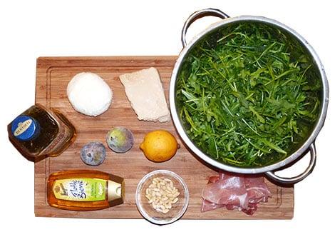 Zutaten Salat mit Rucola und Feigen