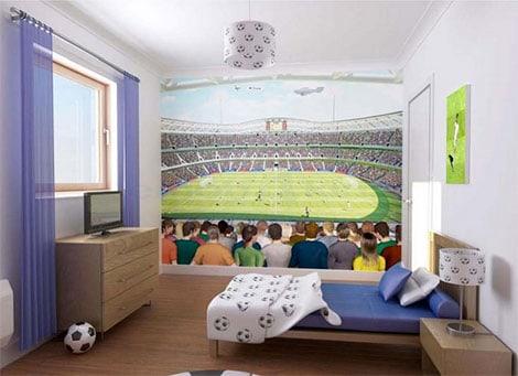 """Hervorragend gelöst ist bei diesen neutral gewählten Kinderbett der Wunsch nach dem Thema """"Fußball"""" im Kinderzimmer"""