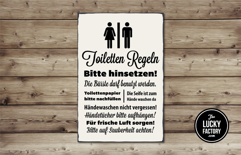 toilettenregeln schild kreativliste. Black Bedroom Furniture Sets. Home Design Ideas