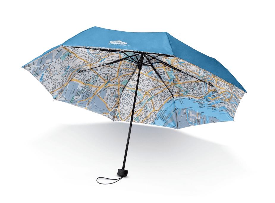 Ein Schirm mit integriertem Stadtplan