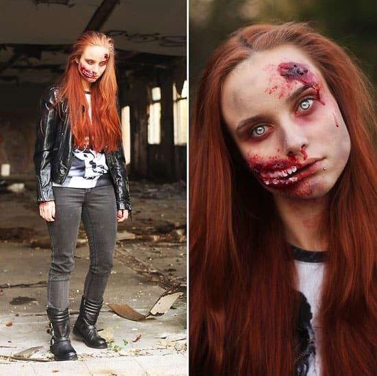 Wunden im Gesicht werden aufgeklebt und dann über spezielles Makeup mit dem Gesicht verbunden