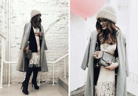 In der kalten Jahreszeit zeigt sich der Modetrend Spitze zeichnet sich vor allem an Kleidern und Pullovern