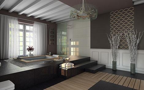 In großen Badezimmern kann mit Bodenhöhen gespielt werden
