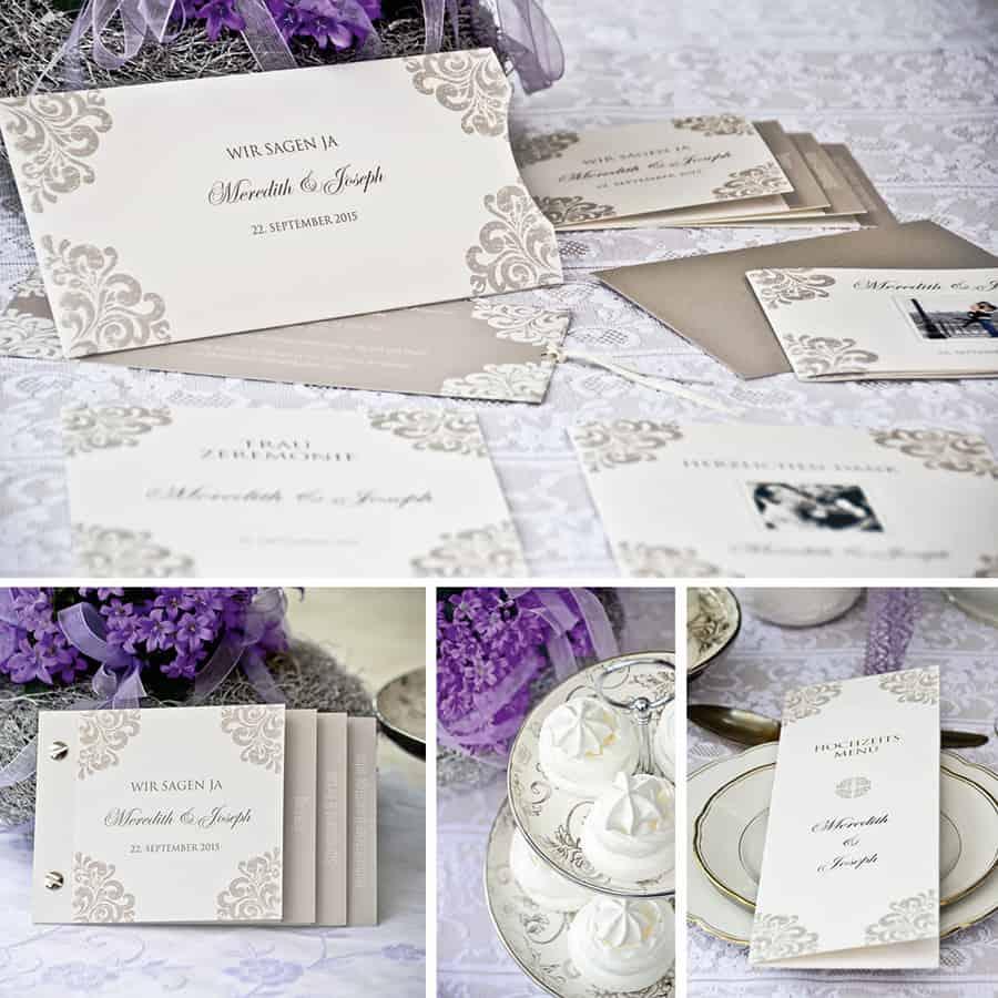 Eine einheitliche Gestaltung von den Hochzeitseinladungen bis hin zur Dankeskarte, z.B. im eleganten Barockstil