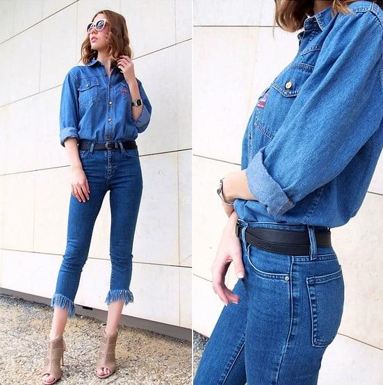 Fransen als Detail an der Jeans machen bei diesem schlichten All-denim-Style das gewisse Etwas aus