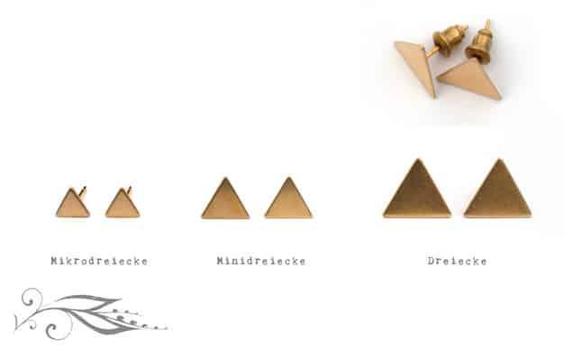 Dreiecke - handgelötete Ohrstecker 13mm