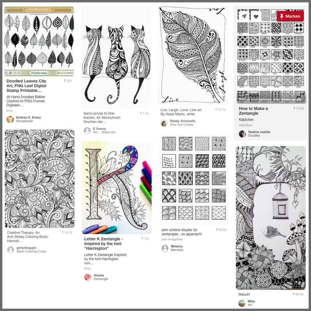 Bei Pinterest gibt es eine Menge an Inspirationen für Zentangles