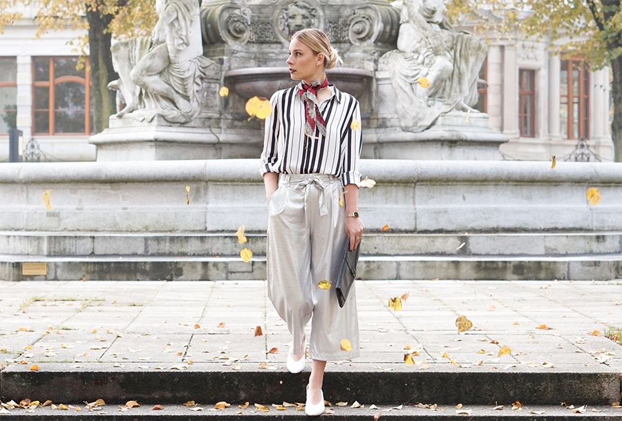 Culotte im Metallic-Look