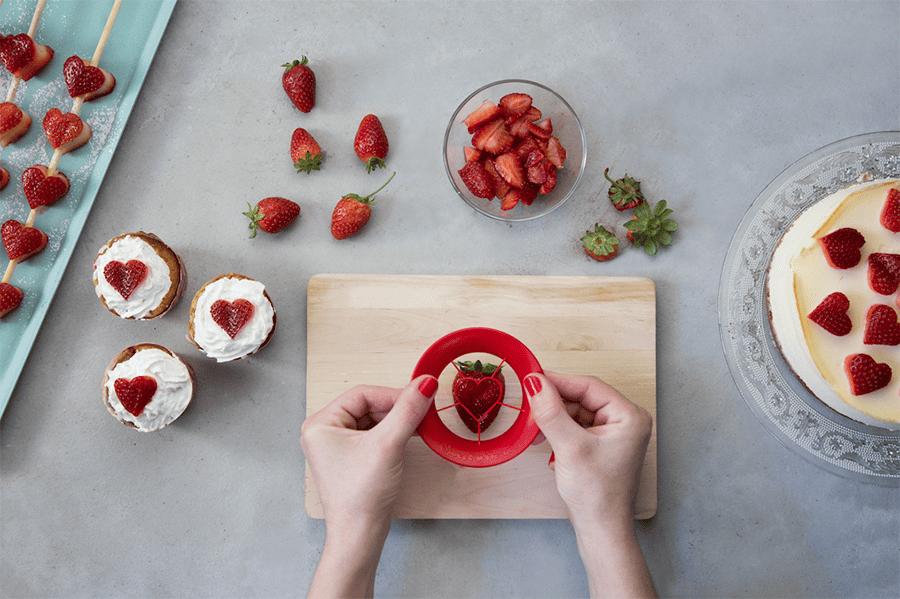 Erdbeer-Ausstecher in Herzform