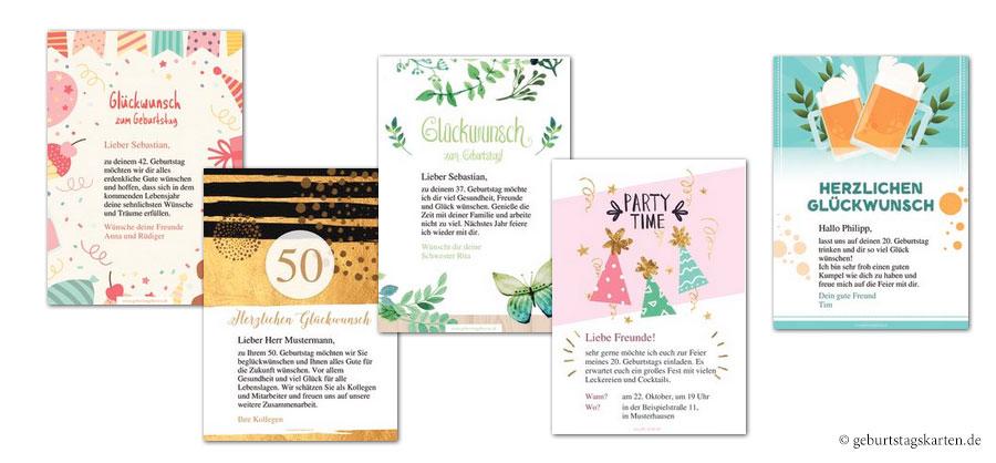 Beispiele aus dem vielfältigen Designvorlagen für kostenlose Glückwunschkarten