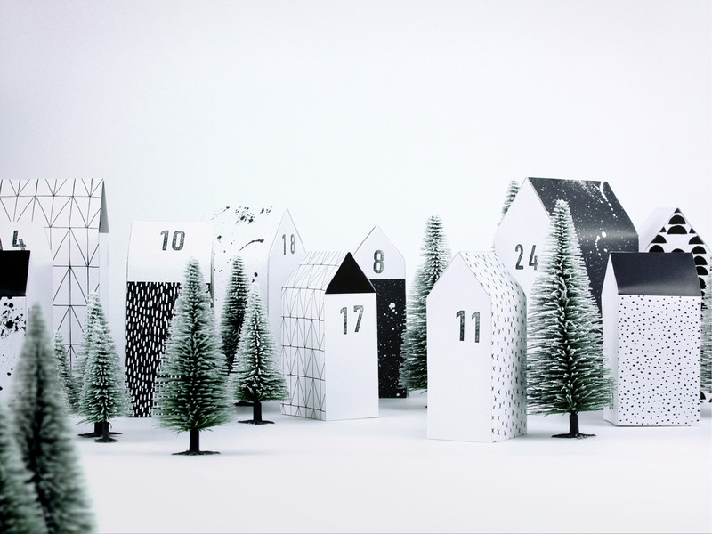Adventskalender mit Häusern